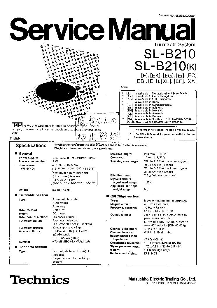 TECHNICS SL-B210-210K Service Manual download, schematics