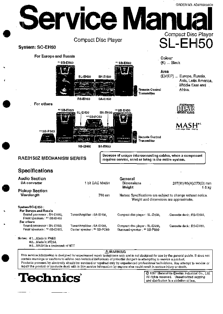 TECHNICS RS-M216 SM Service Manual free download