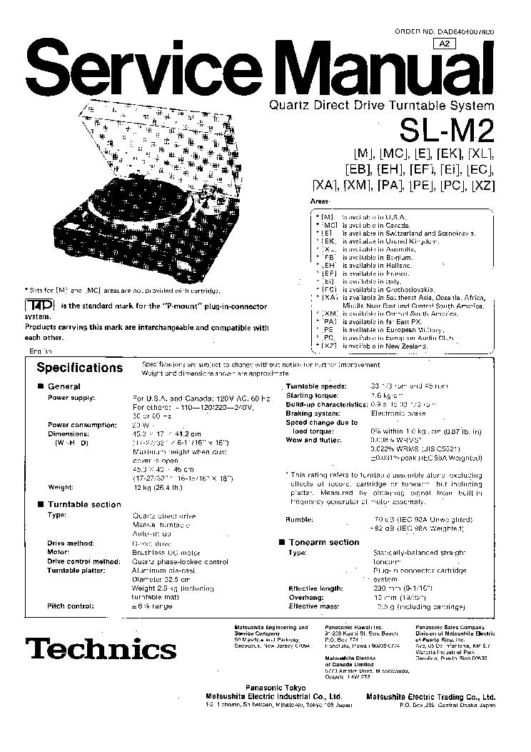 TECHNICS SL-M2 SM Service Manual download, schematics