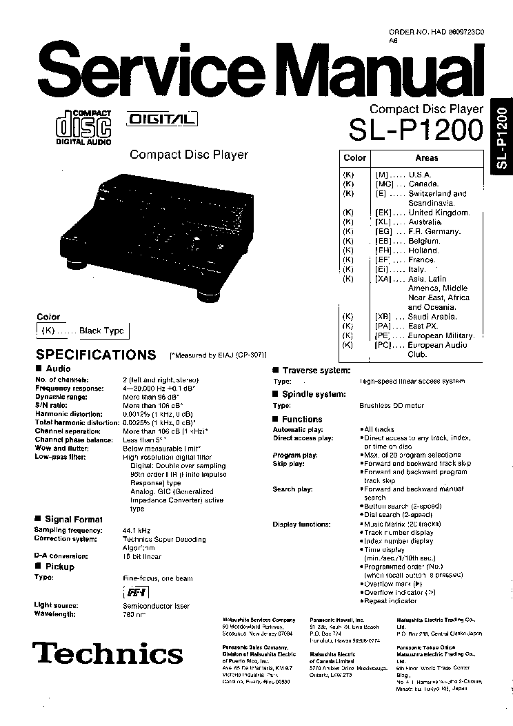 TECHNICS SL-P1200-1 Service Manual download, schematics