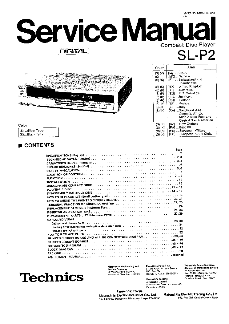 TECHNICS SL-P2 Service Manual download, schematics, eeprom