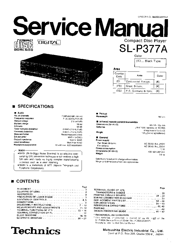 TECHNICS SL-P377A Service Manual download, schematics