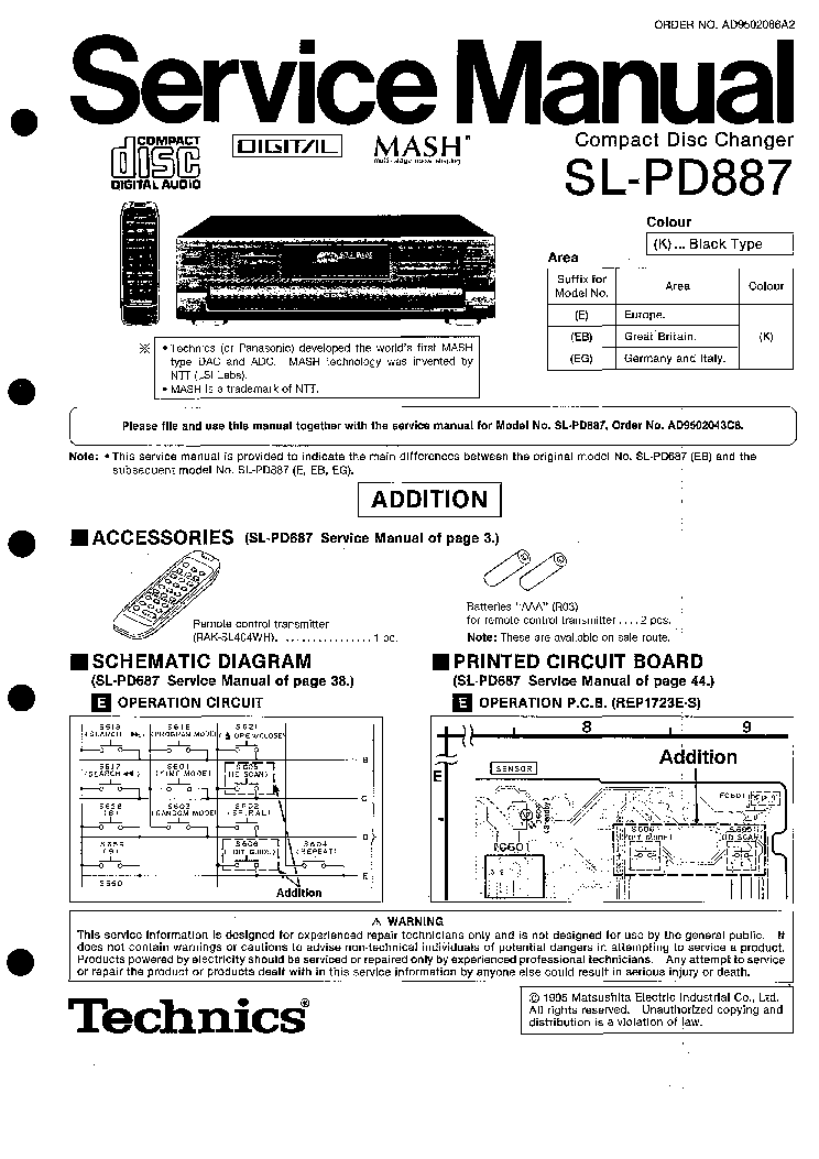TECHNICS SL-PD-887 Service Manual download, schematics