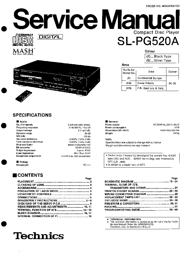 TECHNICS SU-A700MK2 SM Service Manual download, schematics