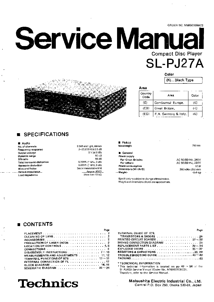 TECHNICS RS-M250 SM Service Manual free download