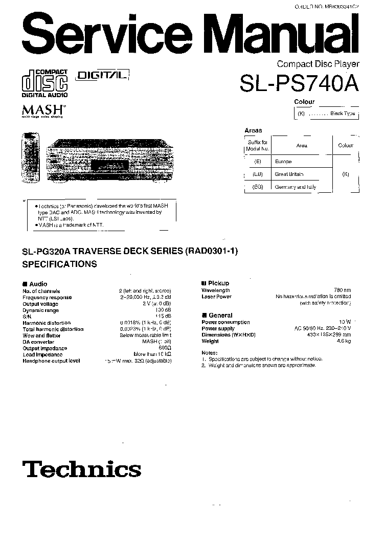 TECHNICS SL-PS740A Service Manual download, schematics