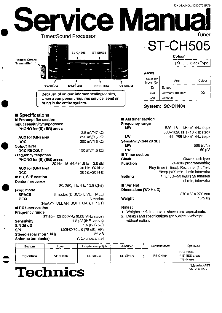 TECHNICS ST-CH505 SM Service Manual download, schematics