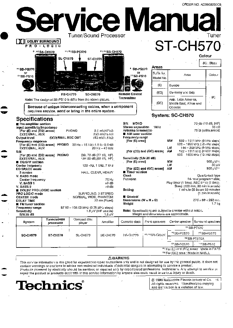 TECHNICS ST-CH570 SM Service Manual download, schematics