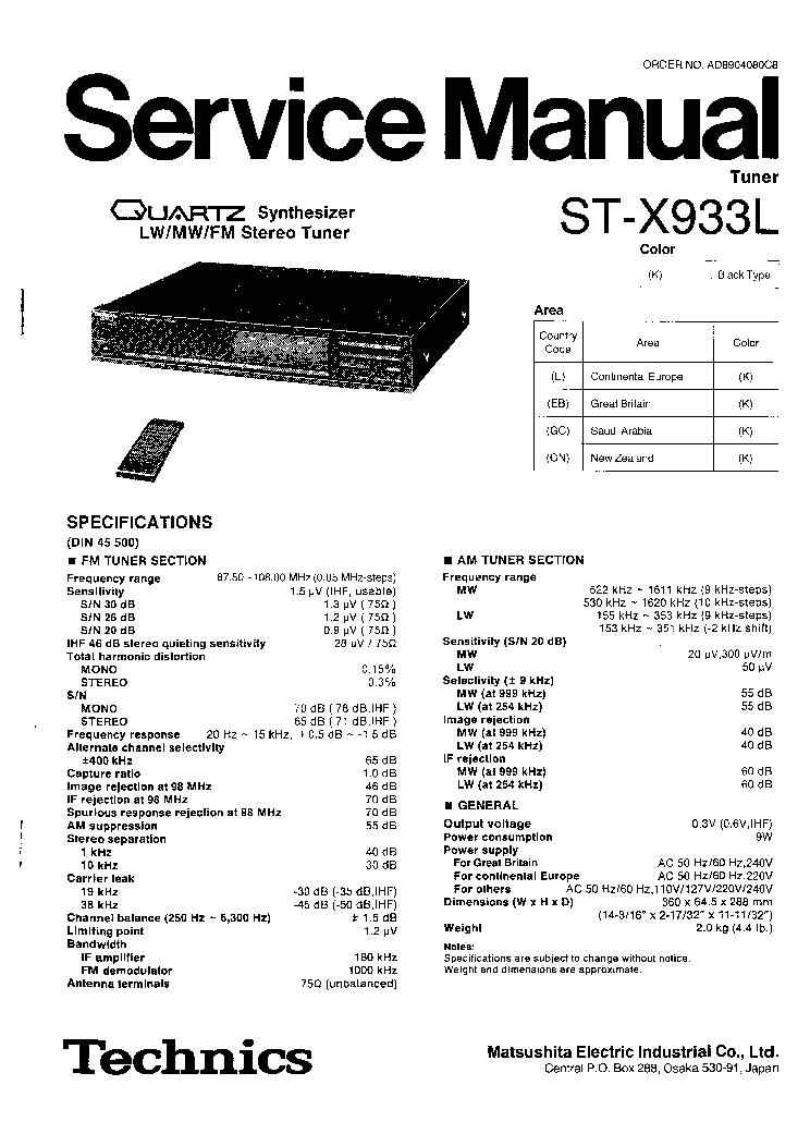TECHNICS ST-X933L Service Manual download, schematics
