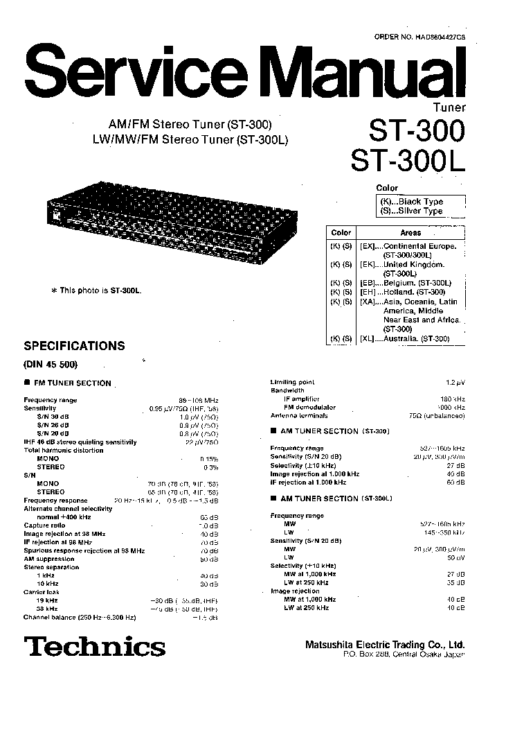 TECHNICS RS-B105 Service Manual download, schematics