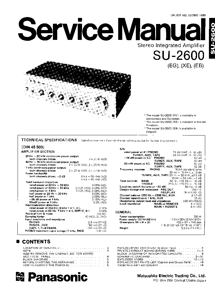 TECHNICS SE-HD301 Service Manual download, schematics