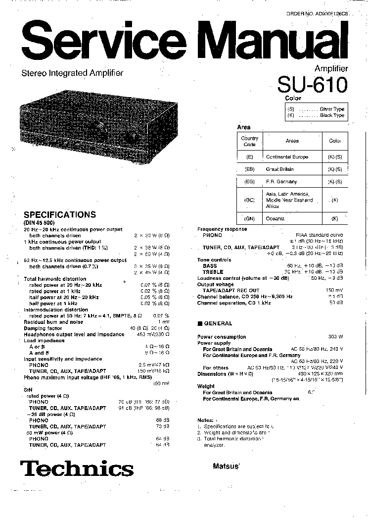 TECHNICS SU-610 AMPLIFIER Service Manual download