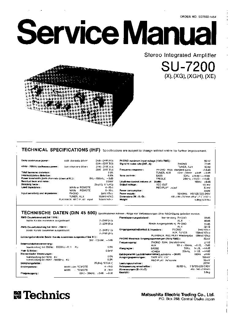 TECHNICS SU-V500M2 SU-V620M2 SUPPL Service Manual free