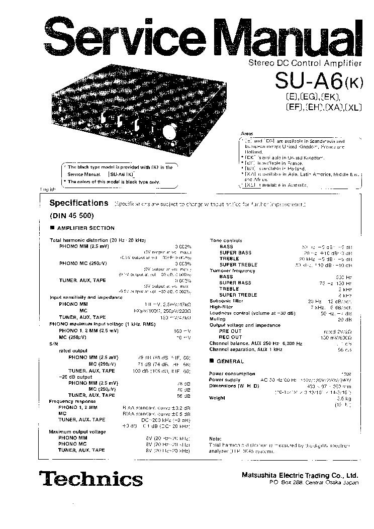 TECHNICS SU-A6 SM Service Manual download, schematics