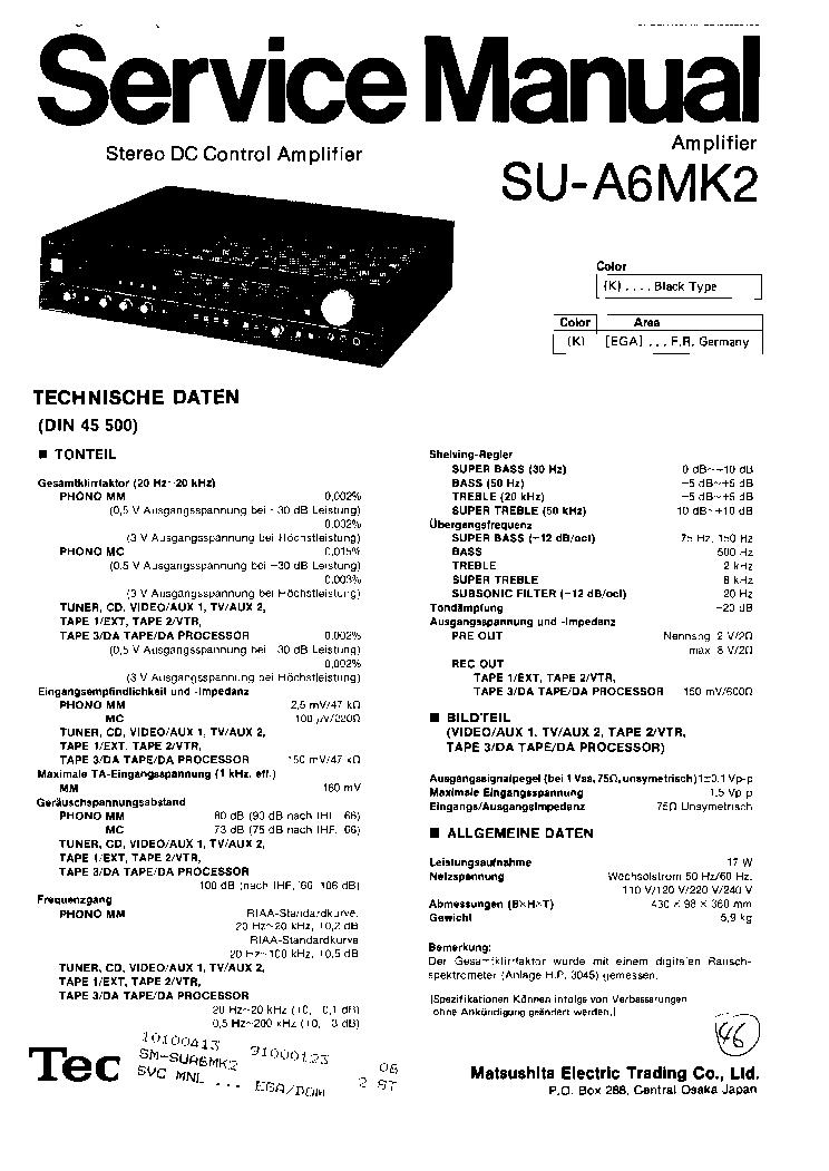 TECHNICS SU-A6MK2 SM 1 Service Manual download, schematics