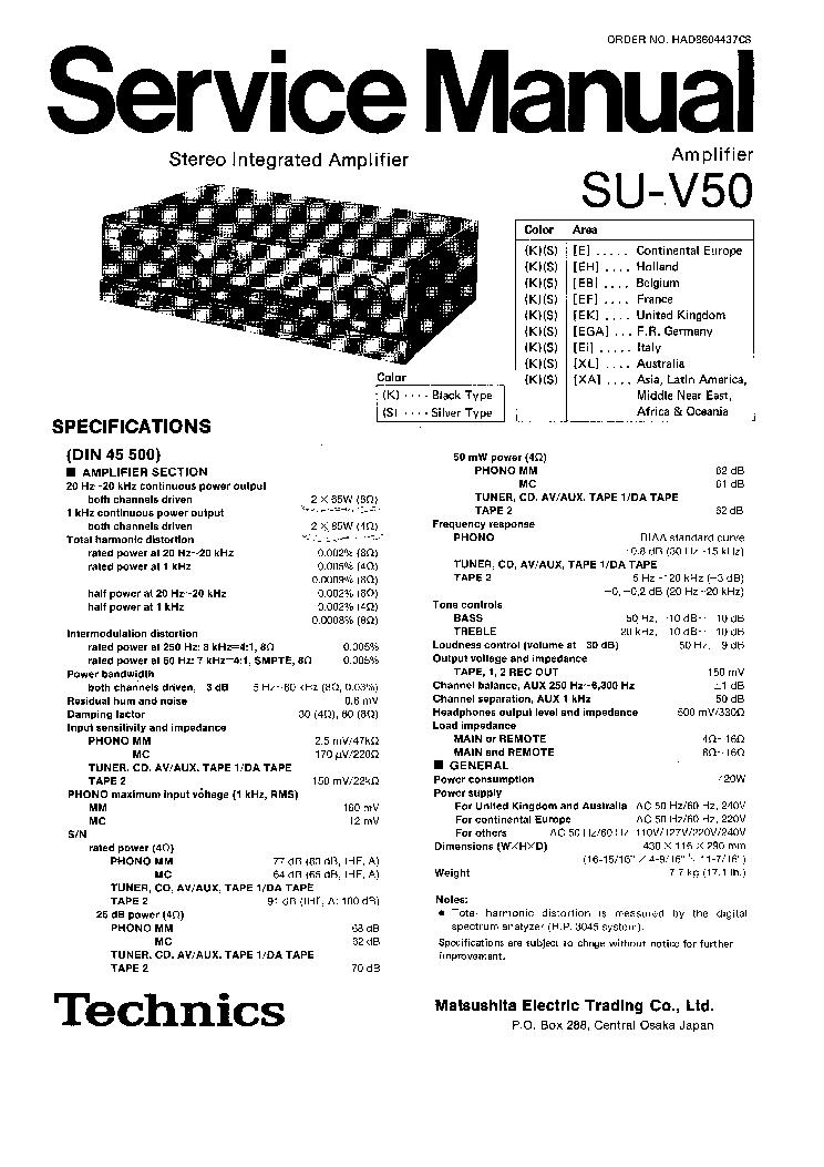 TECHNICS SU-V50 SM Service Manual download, schematics