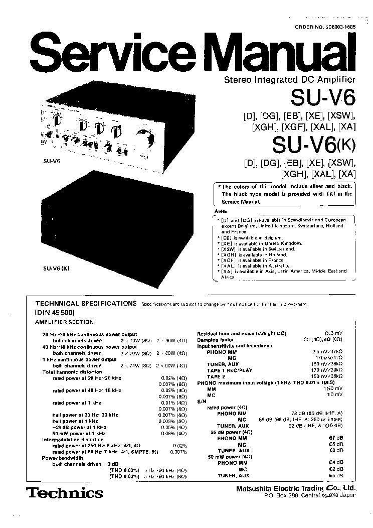 TECHNICS SU-V6 Service Manual download, schematics, eeprom