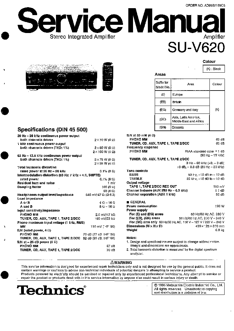 TECHNICS SU-V620 SM 1 Service Manual download, schematics