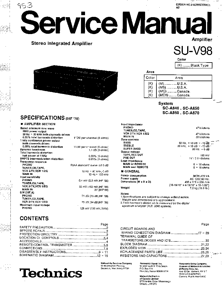 TECHNICS SU-V98 Service Manual download, schematics