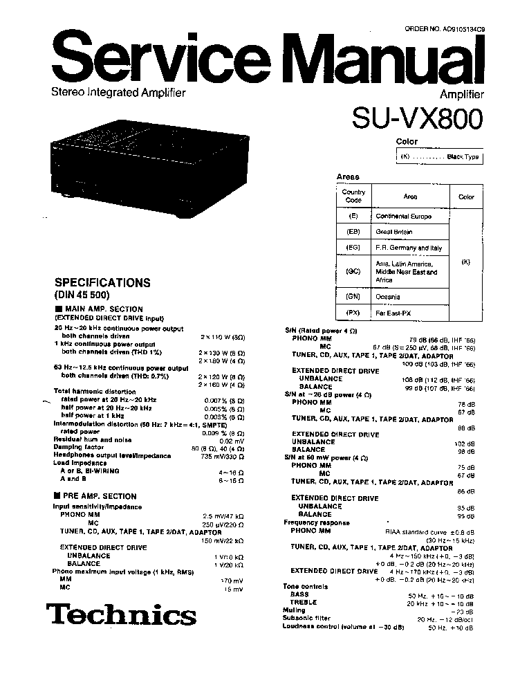 TECHNICS SU-VX800 Service Manual download, schematics