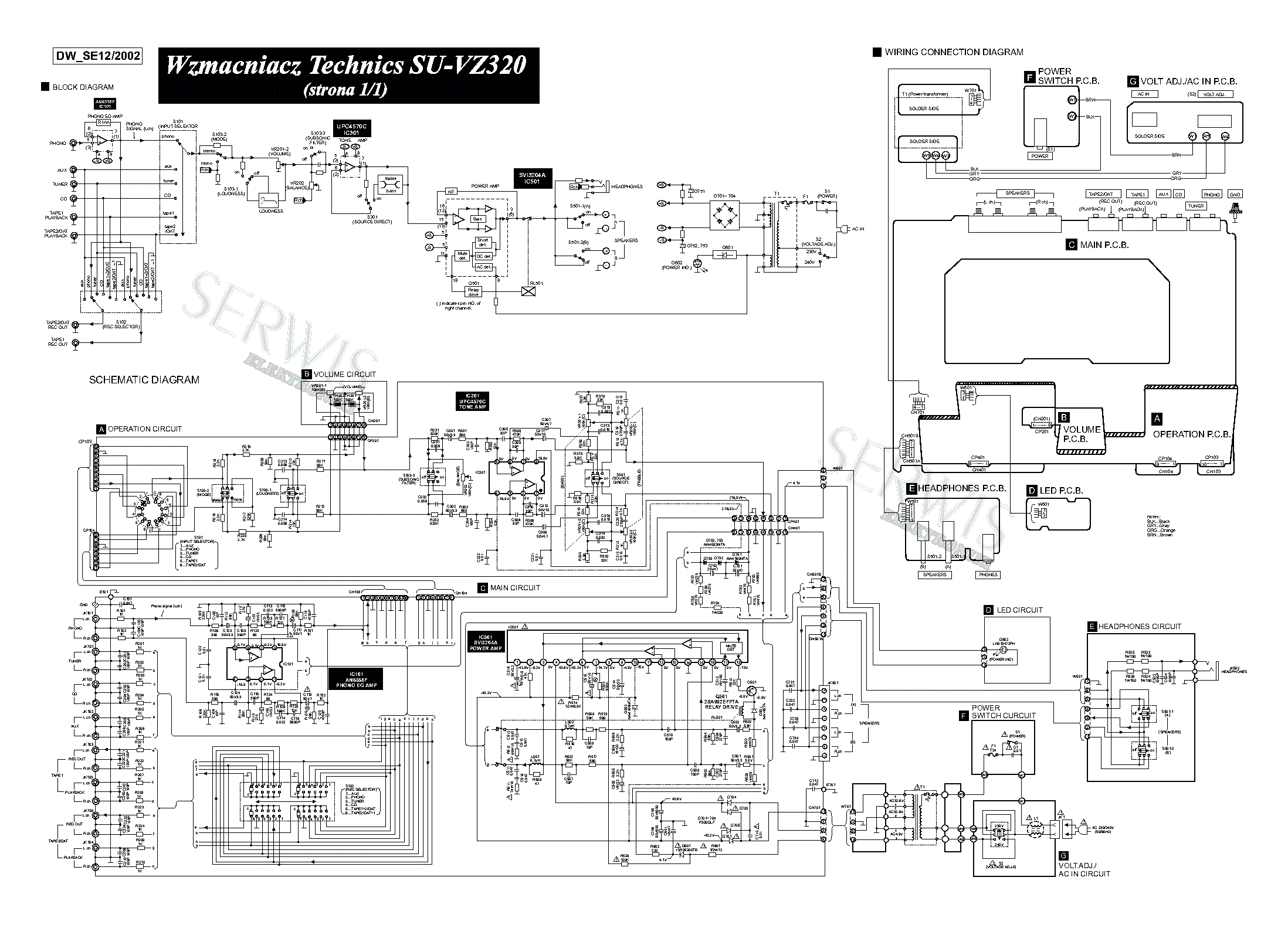 TECHNICS SU-VZ320 AMPLIFIER SCH Service Manual download