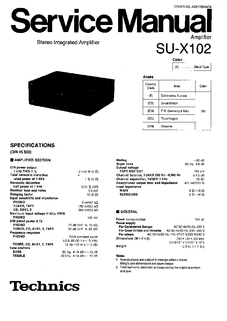 TECHNICS SU-X102 SCH Service Manual download, schematics
