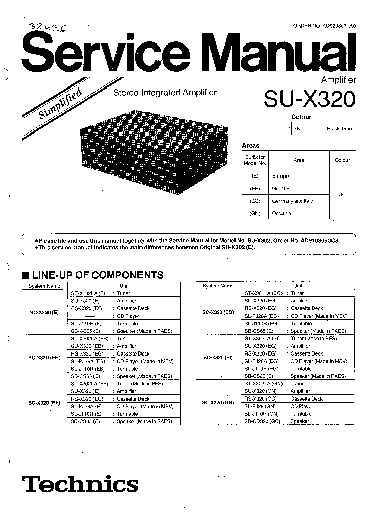TECHNICS SU-X320 SM Service Manual download, schematics