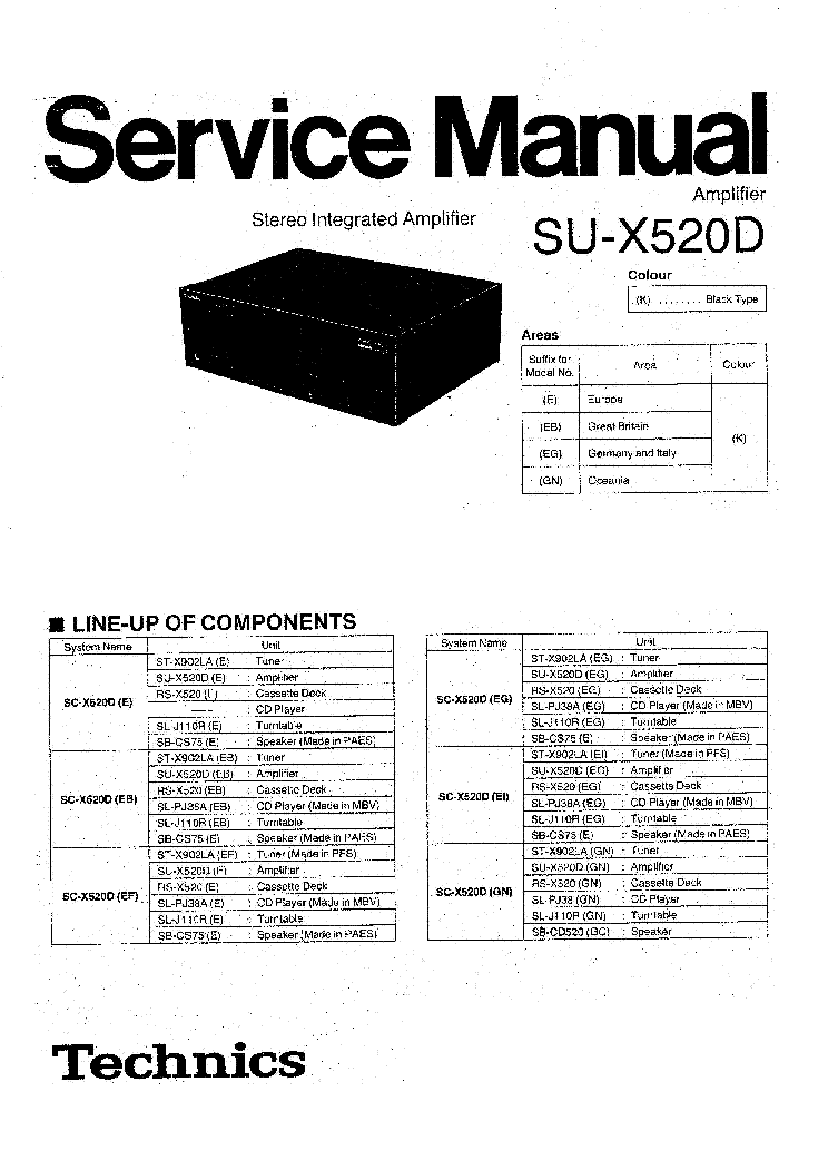 TECHNICS SU-X520D SM Service Manual download, schematics