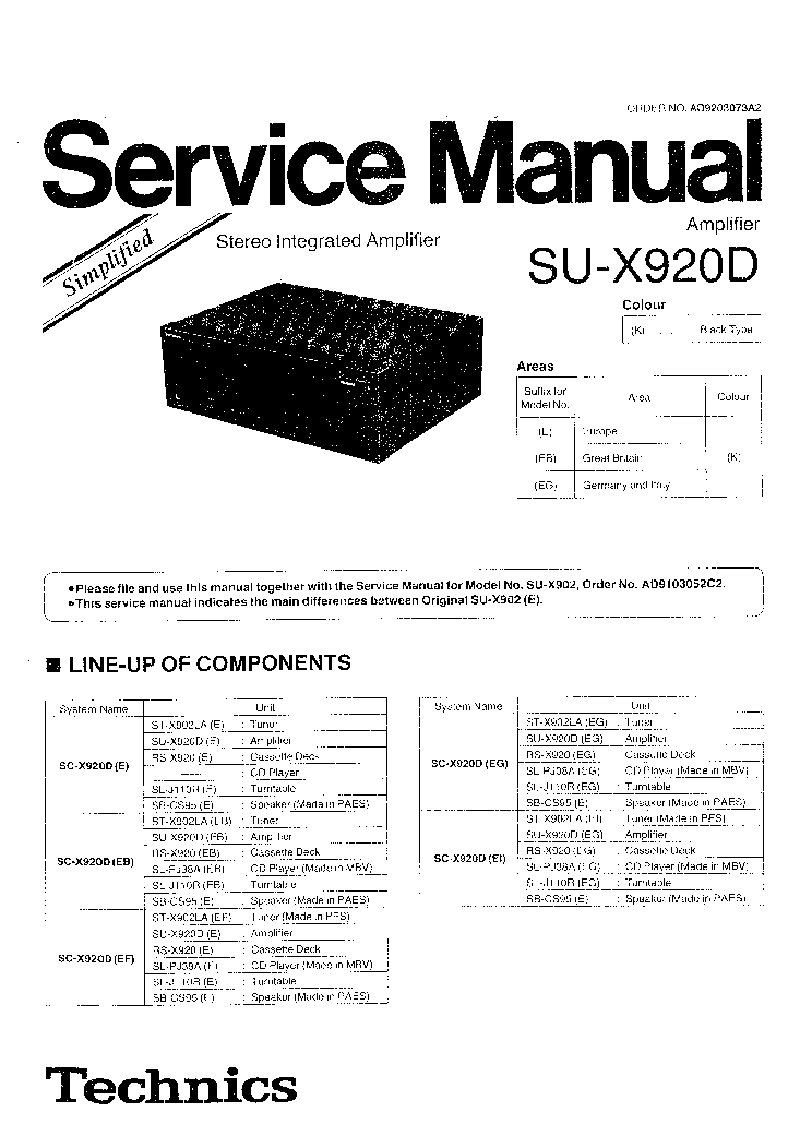 TECHNICS SE-A808 SM Service Manual download, schematics