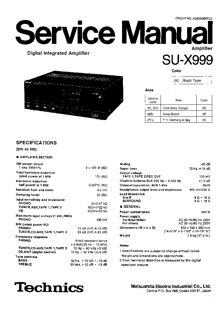 TECHNICS SU-X999 SM 1 Service Manual download, schematics