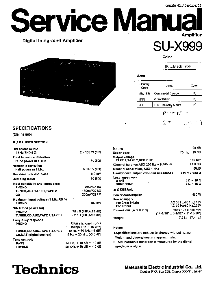TECHNICS SU-X999 SM 2 Service Manual download, schematics