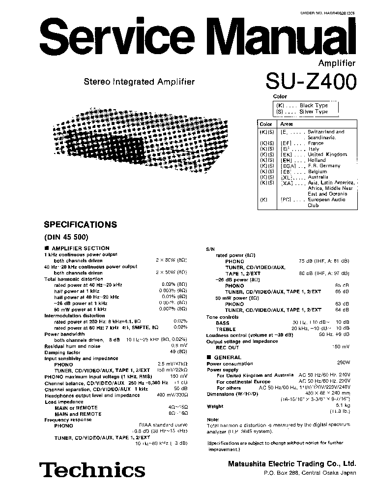 TECHNICS SU-Z400 SM Service Manual download, schematics