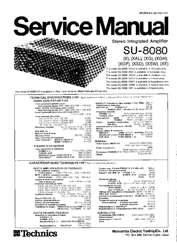 TECHNICS SU8080 SM Service Manual download, schematics