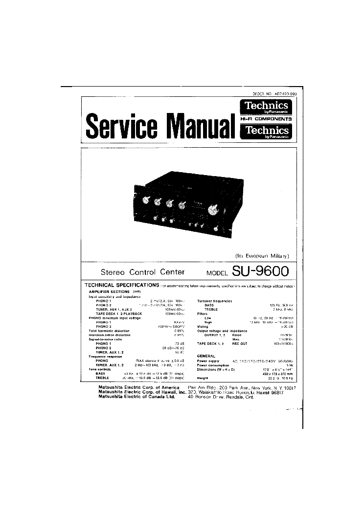 TECHNICS SE-A909S Service Manual free download, schematics