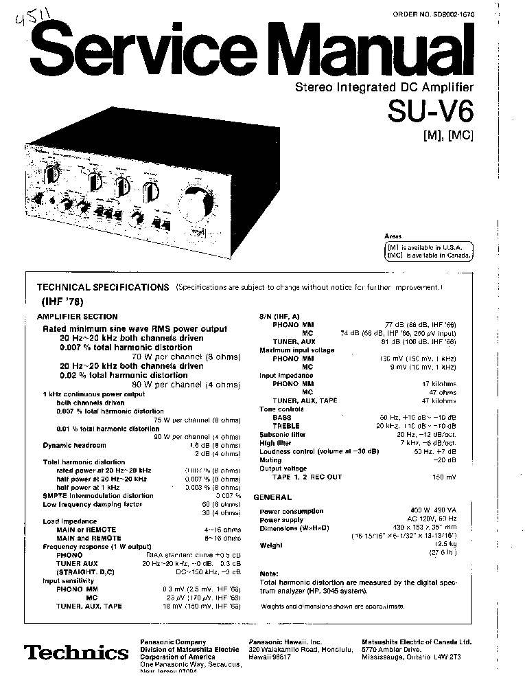 TECHNICS ST-HD350 MS Service Manual free download