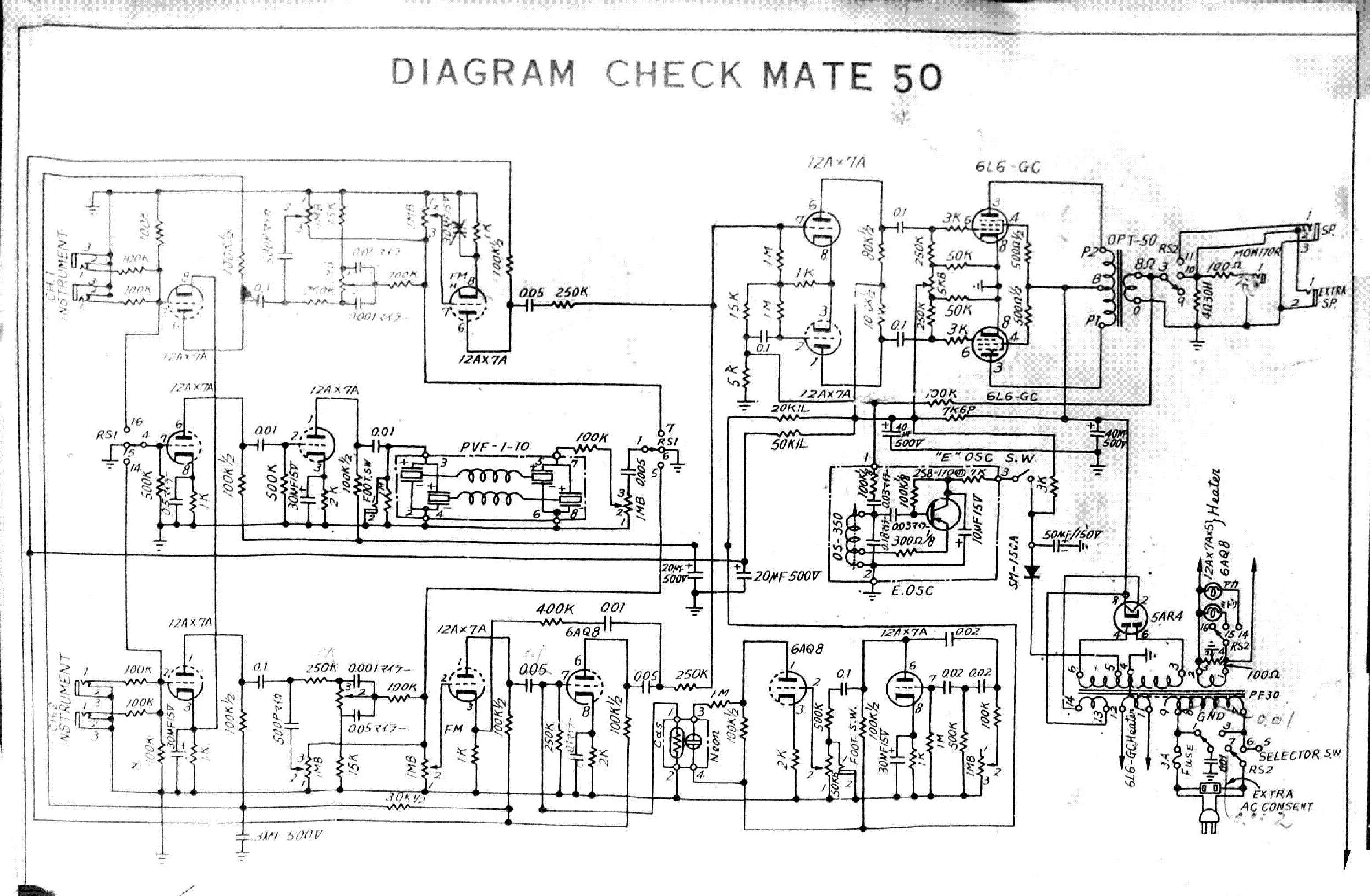 TEISCO CHECKMATE 100 PA REVERB SCH Service Manual download