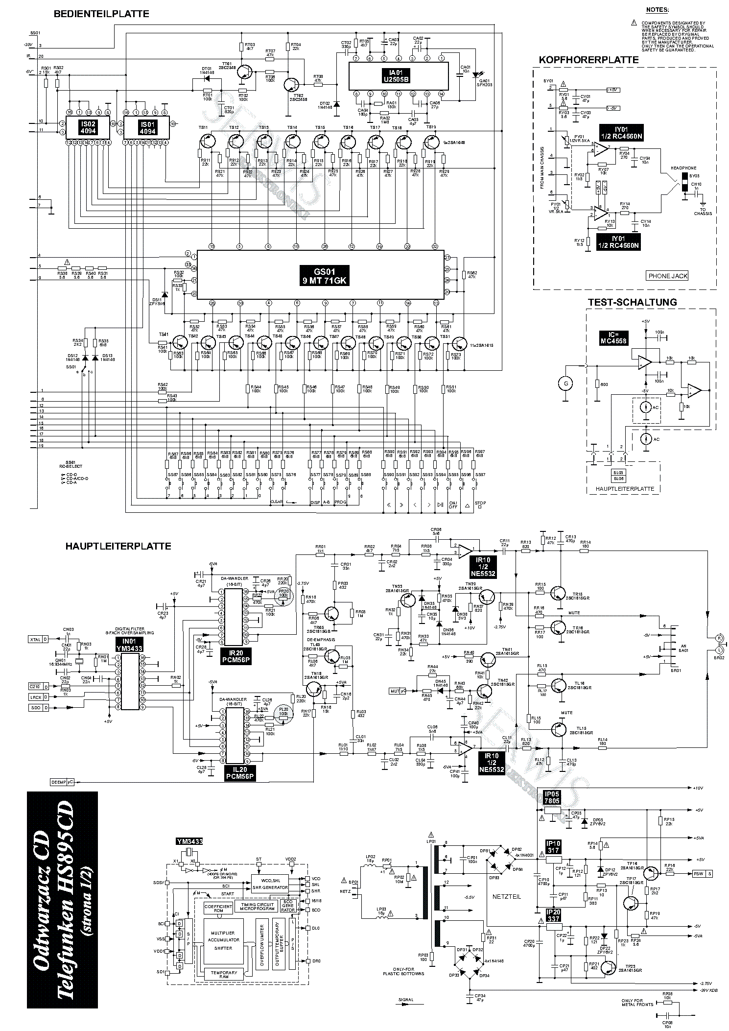TELEFUNKEN HS895CD SCH Service Manual download, schematics