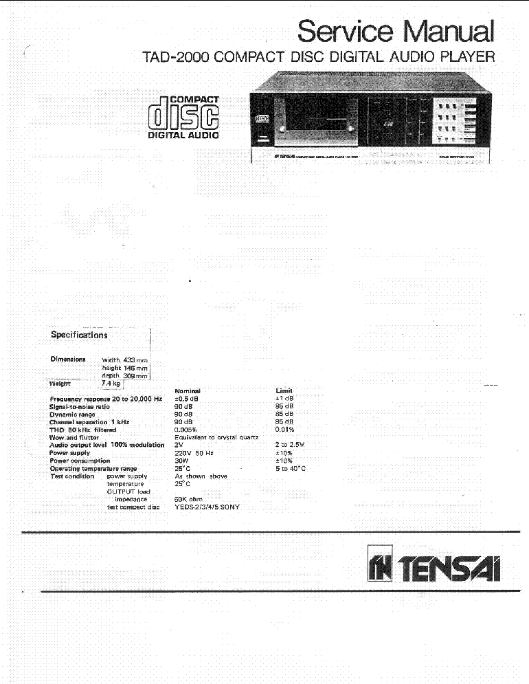 TENSAI TAD-2000 SERVICE-MANUAL Service Manual download
