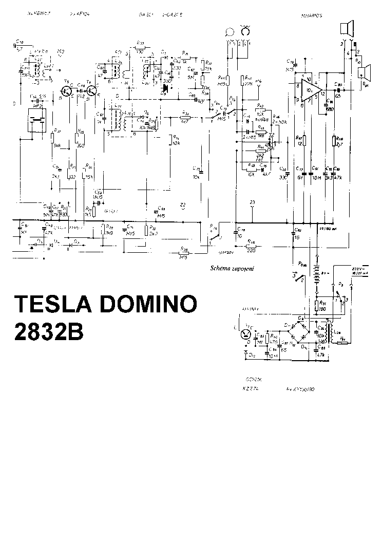 TESLA 2832B DOMINO SCH Service Manual download, schematics