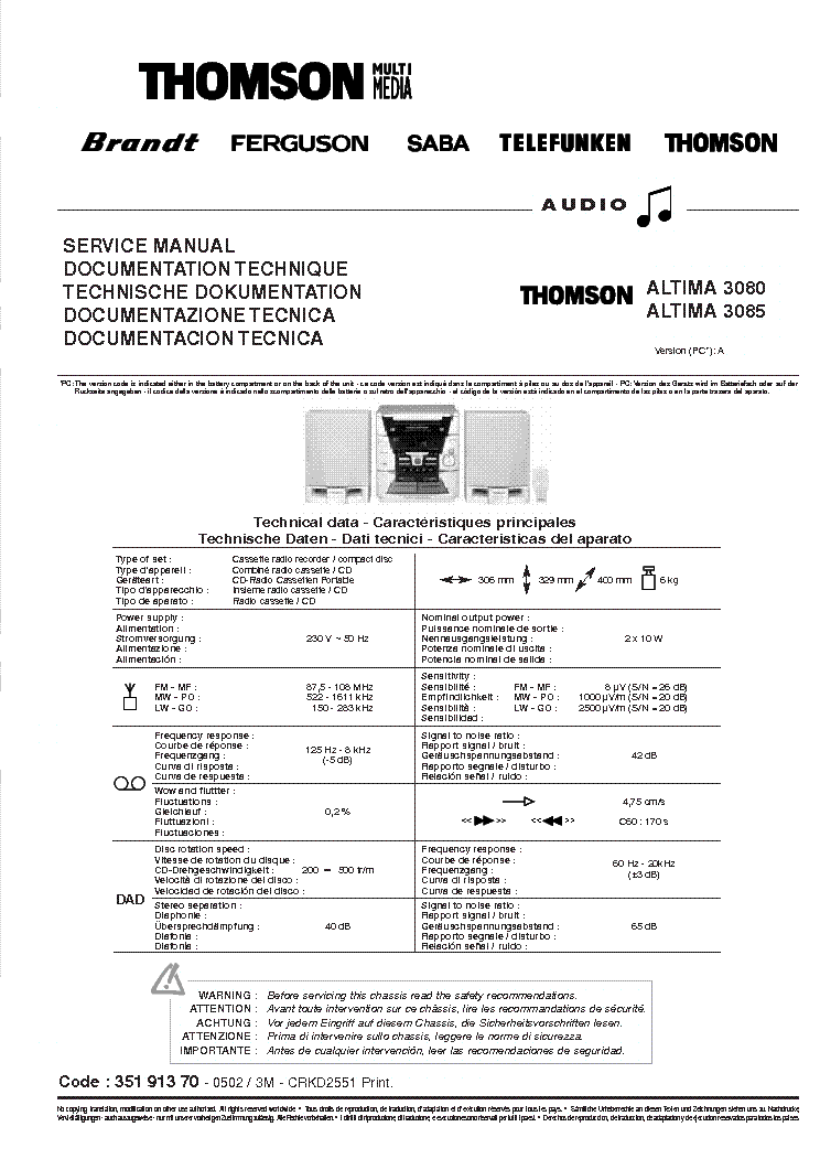 THOMSON DPL-1000 Service Manual download, schematics