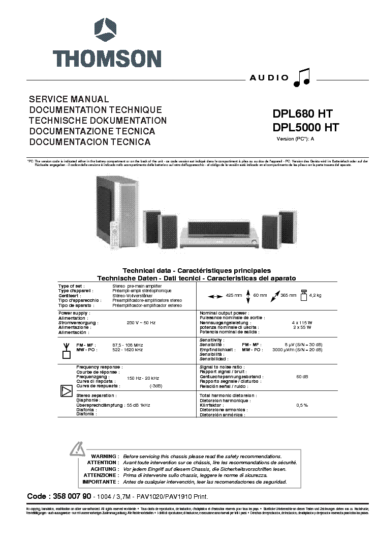 THOMSON DPL5000 DPL680-HT SM Service Manual download