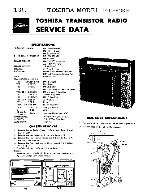 TOSHIBA 14L-828F SM Service Manual download, schematics