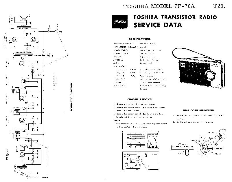 TOSHIBA 7P-70A SM Service Manual download, schematics