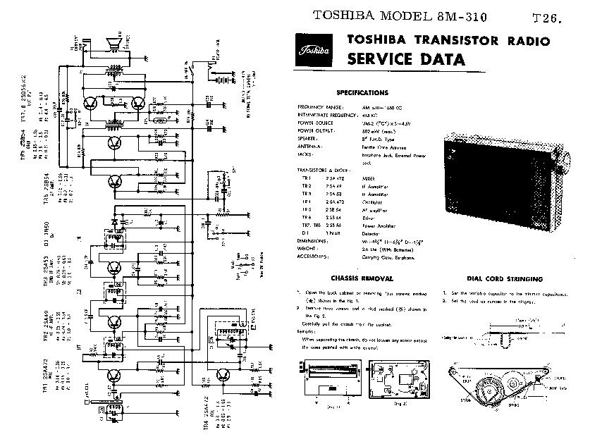 TOSHIBA 8M-310 SM Service Manual download, schematics