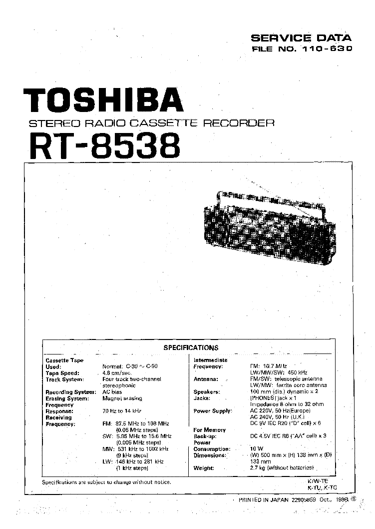 TOSHIBA RT8538 SM Service Manual download, schematics