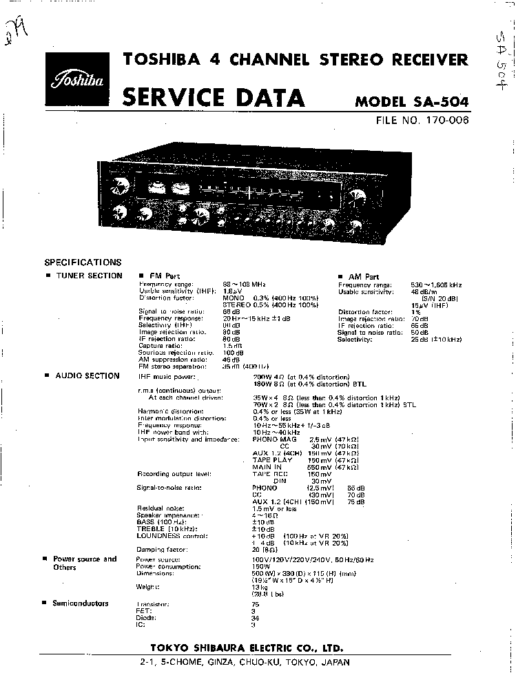 TOSHIBA SA-504 Service Manual download, schematics, eeprom