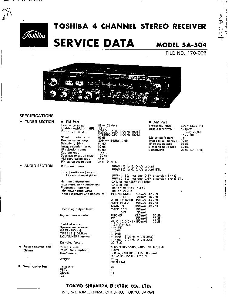TOSHIBA SA-300L Service Manual free download, schematics