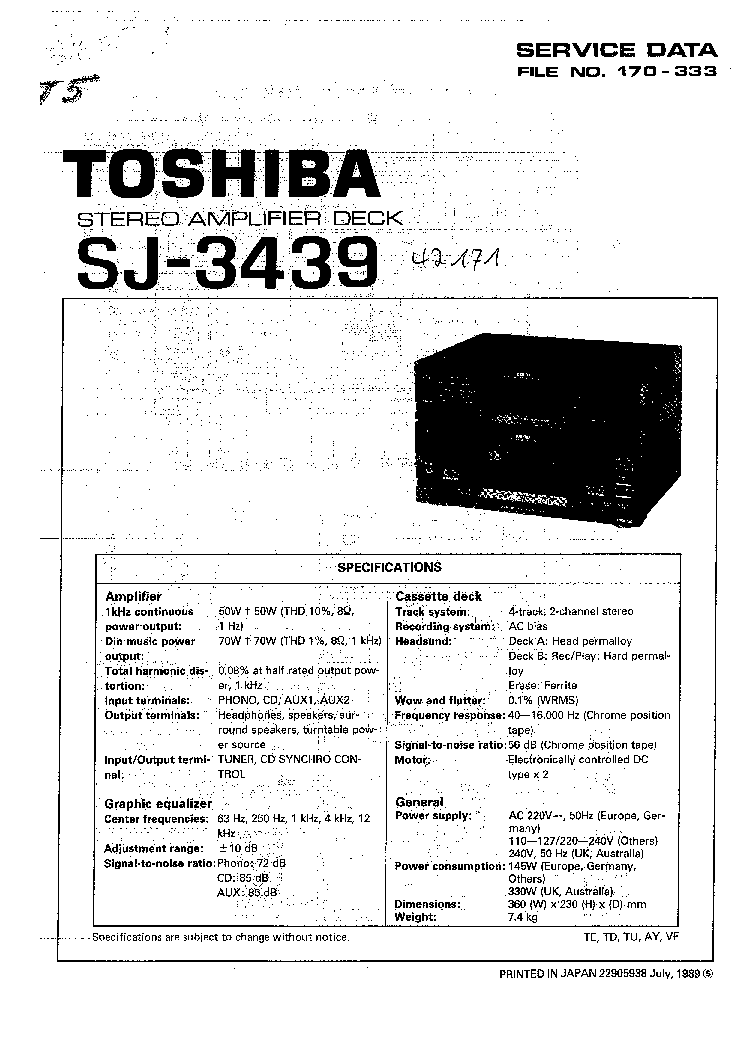 TOSHIBA SJ-3439 Service Manual download, schematics