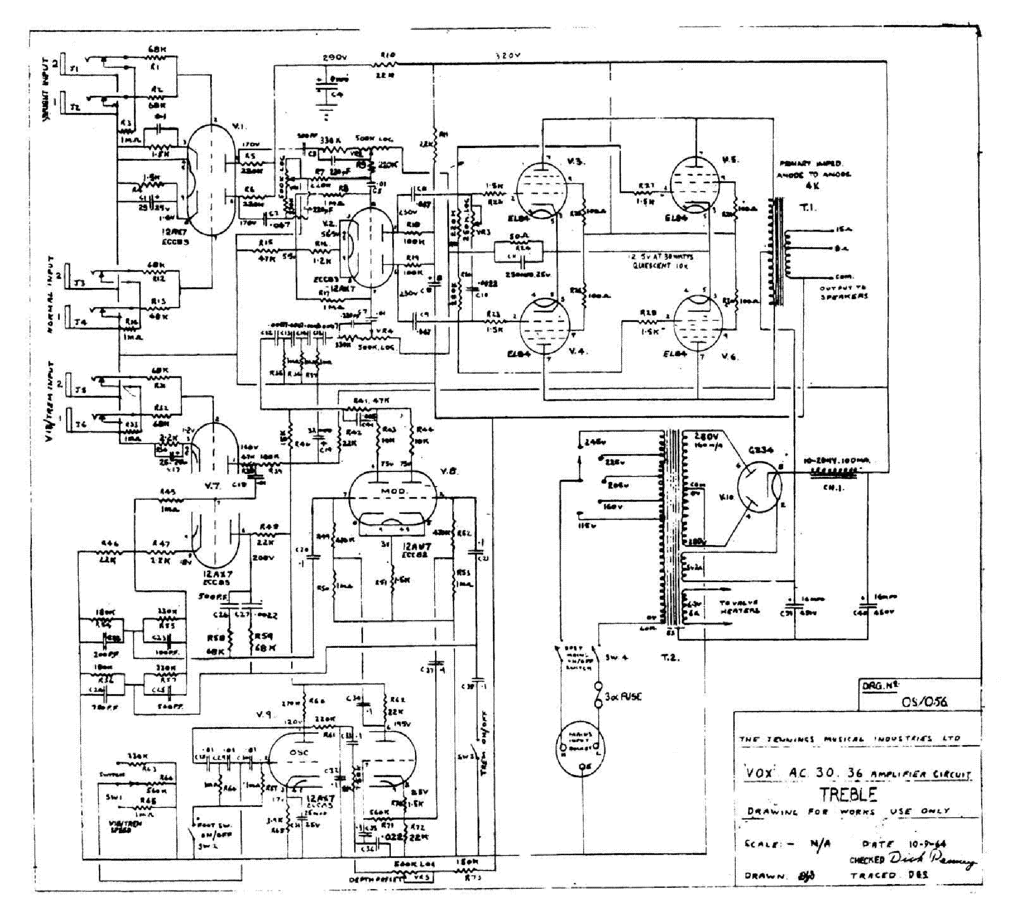 VOX AC15 MK II SCH Service Manual download, schematics