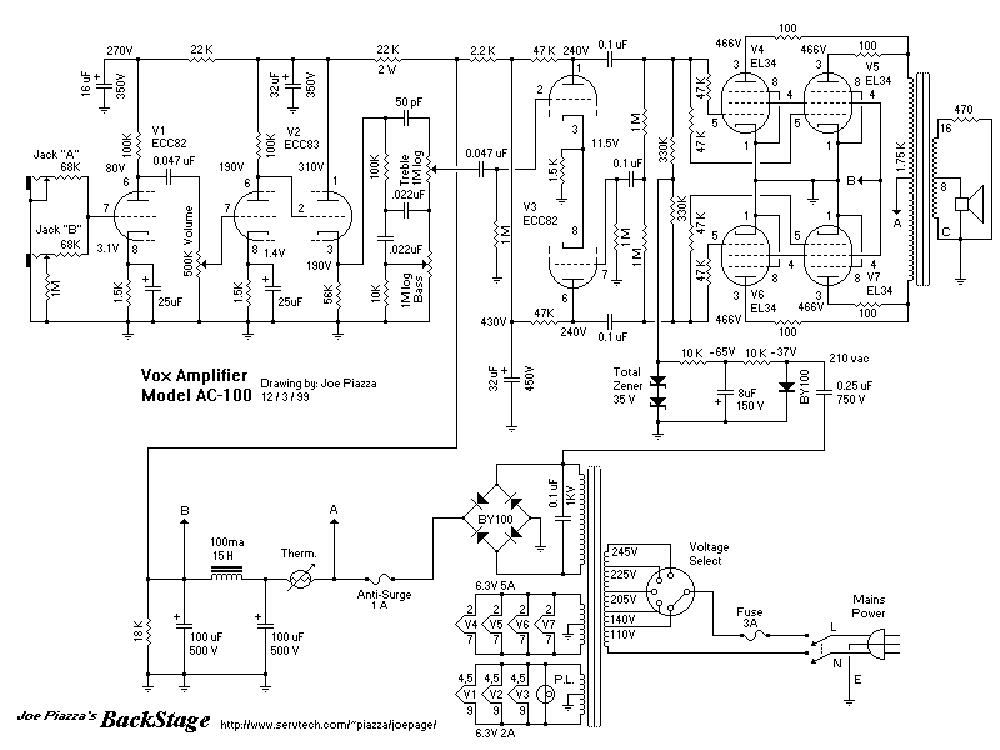 VOX AC15C1 SCH Service Manual download, schematics, eeprom